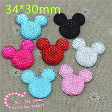 mix color mickey 34*30mm 30pcs resin flat back cabochon for hair bow center scrapbooking(China)