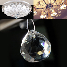 1PC New Boutique Vintage Crystal Clear Feng Shui Ball Placed in window ornament make Rainbow 30*35mm(China)