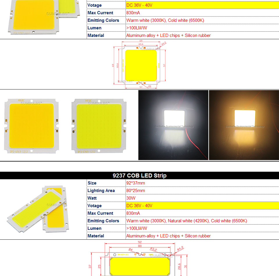 COB LED Strip Light Lamp Bulb 10W 20W 30W 50W Warm Natural Cold White Blue Red Chip On Board LED Matrix Lighting 1-50W (4)