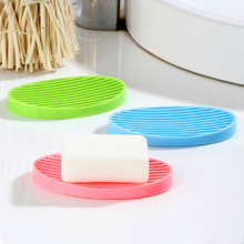 Free shipping 1pcs candy color silicone Home travel Soap Dishes soap holder soap box with Cover bathroom set Soap Dish 4 color(China)