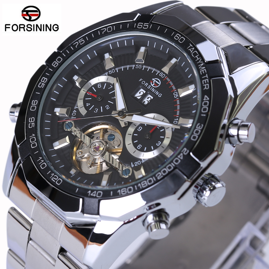 FORSINING Brand Designers Multi Function Automatic Mechanical Big Watches Full Steel Atmos Army Clock Mens Tourbillon Watch<br>