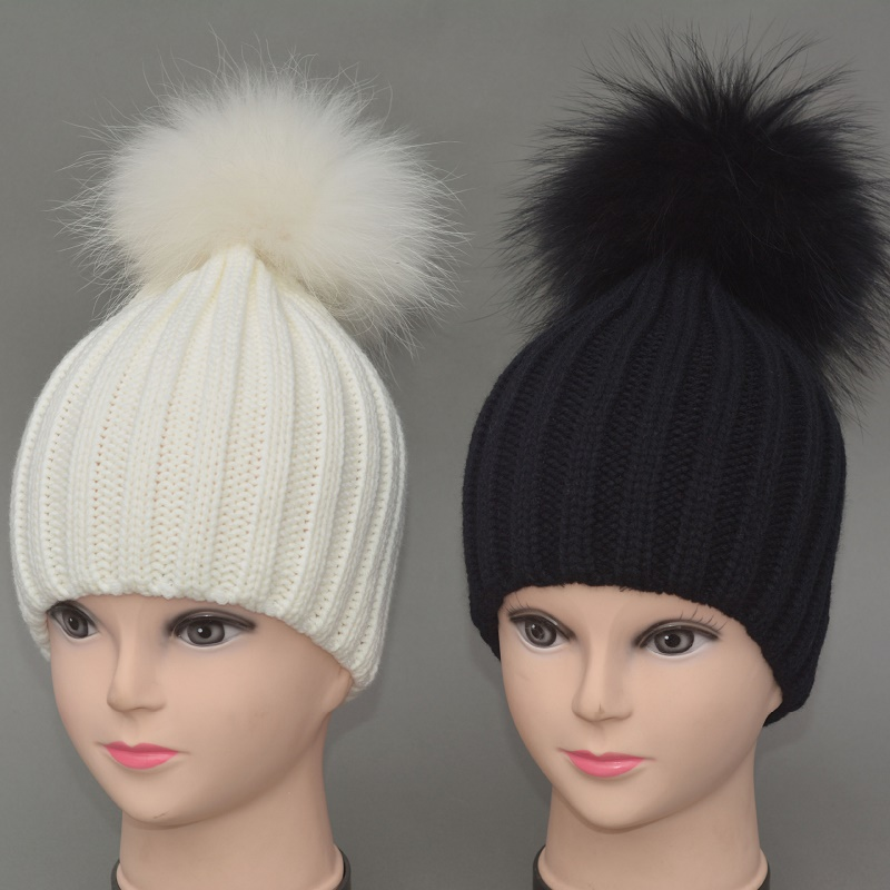 Winter Cap For children hat 18cm big hair bulb hat knitted cap warm hat beanie baby 1-7 years old 100% Real Raccoon Fur Hats 008Одежда и ак�е��уары<br><br><br>Aliexpress