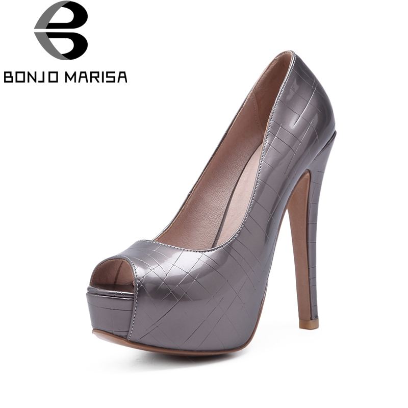 BONJOMARISA 2018 Large Size 33-44 Office Lady Super Thin High Heels Pumps Shoes Women Platform Slip On Black Party Wedding Pumps<br>