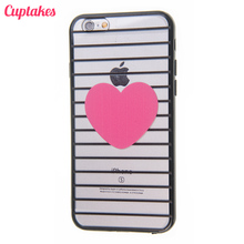 Cuptakes Hot Pink Heart Black Stripes Soft Silicone Case for iPhone 5S Cover Rubber SE 5 6 7 Plus Phone Cases Coque film i6 i5