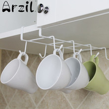 8 Hooks Metal Kitchen Cup Hanging Holder Storage Rack For Cupboard Wardobe Cap Tie Organizer Home Room Storage Tools Accessories