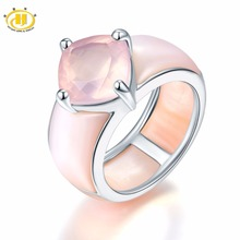 Hutang Rose Quartz & Pink Mother of Pearl Solid 925 Sterling Silver Ring for Women's Fine Jewelry Unique Design Valentine's day(China)