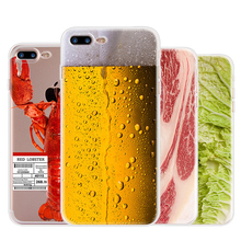 Soft TPU Case for iPhone 5 5S SE 6 6S 7 Plus Ultra Slim Funny Drink Beef Beer Lobster Cabbage Transparent Silicone Cover Case(China)