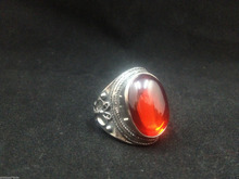 China Rare Old Collectible tibet Silver Carving butterfly Inlay red gem Ring