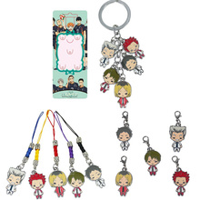 Haikyuu! Karasuno vs Nekoma Anime Karasuno High School Doomed Battle Figure Toys Metal Alloy Keychain Key Charms Phone Strap