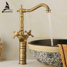 Free Shipping Antique Brass Finishing Kitchen Faucets Kitchen Tap Basin Faucets Dual Handle Hot&Cold Wash Basin Tap ZLY-6712F(China)
