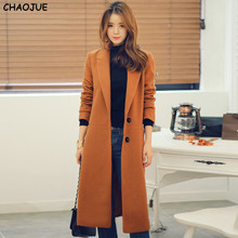 CHAOJUE Brand Ultra long cashmere overcoat women's 2017 loose woolen coat female plus size classic camel wool outerwear sales