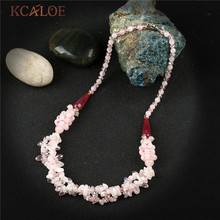 KCALOE Handmade Irregular Pink Natural Stone Pendants Necklaces Fashion Wedding Crystal Choker Necklace Charms Jewellery(China)