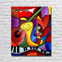 100% Handmade Famous High Quality Cartoon Oil Painting Musical Instrument Hang Picture for Home Decor Nice Gifrs No Frame