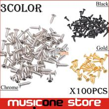 100pcs Bass Guitar Pickguard Screws,Cavity Cover Jack Cover Plate screw For Electric Guitar Bass 3*12mm Chrome / Gold / Black(China)