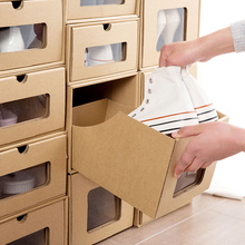 Translucent kraft paper Drawer style Storage Shoebox Household DIY containing finishing box for Boots flat shoes high heels