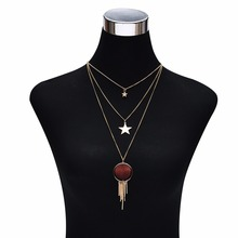 Fashion classic popular alloy multi - layer chain necklace star modeling simple high - end necklace accessories(China)