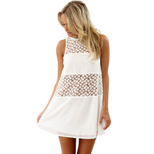Buy 2018 Women Summer Chiffon Sleeveless Lace Boho Beach Short Mini Casual Vintage Sexy Dress Solid Female Summer White Dress A20 for $8.65 in AliExpress store