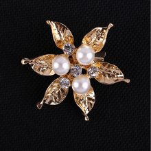 Stunning Wedding Bridal gold and Silver Flower Diamante Faux Pearl Brooch Pin New fashion