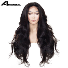 Anogol High Temperature Fiber Hair Natural Hairline Glueless Long Body Wave 1B Black Synthetic Lace Front Wig with Middle Part(China)