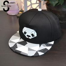 Unisex Baseball Cap Snap Back Panda Plastic Black And White Grid Flat Cap Hip Hop Hat 2017 Fashion Brim Adjustable Cap FM1011
