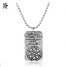 Not All Who Wander Are Lost Wanderlust Traveler Necklace Compass Men Women Inspirational Charm Necklaces Pendants Gift