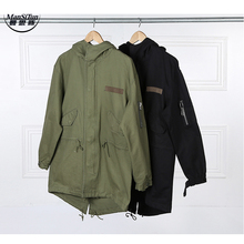 Man Si Tun  Fashion  Korean Hot Sale Men's Japan Jacket Overcoat Kanye West Black/Green Long Military Style European Trench Coat