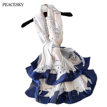 Cute Cats scarf Plus Size beach stole bandana Hijabs 2017 luxury brand Women Silk scarf Beach Shawl and Echarpe Wrap(China)