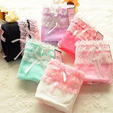Buy 1Pc Girls Lady Sexy Lace Bow Knot Patchwork Cotton Underwear Panties Briefs Women Knickers Multi-layer Underpants