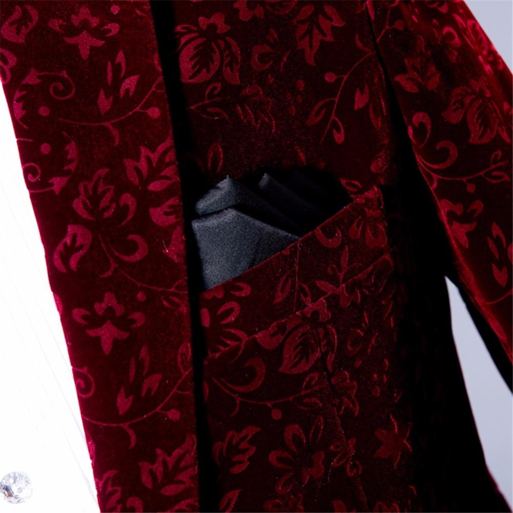 Suit burgundy floral blazer (2)