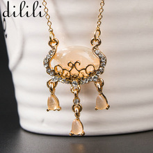 Buy DILILI 2017 new fashion gold crystal chain necklace women fine jewelry safety lock opal pendant necklaces & pendants xsn1048 for $1.34 in AliExpress store