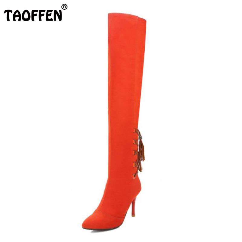 TAOFFEN Size 32-43 Sexy Ladies High Heel Boots Women Cross Strap Tassel Pointed Toe Thin Heels Boots Winter Warm Lady Bota Mujer<br>