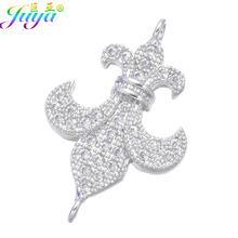 DIY Jewelry Fittings Supplies Micro Pave Zircon Fleur De Lis Charm Connector Accessories For Bracelets Necklace Earrings Making(China)