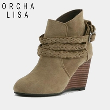 ORCHA LISA Autumn Winter Women Genuine leather shoes Ankle boot Wedges Fashion casual Brown Apricot Pointed toe Flock Buckle