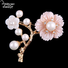 Dvacaman Brand Rose Flower Brooch Pins Women Elegant Simulated Pearl Brooch Lady Cloth Collar Scraf Jewelry Party Accessory FF37(China)