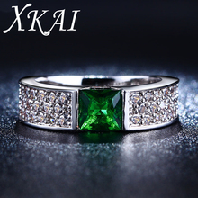 Emerald rings for women Green white gold plated women rings CZ Diamond jewelry Engagement wedding fashion bague gifts XKR210