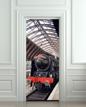 Free shipping DIY 3D Train express Door Sticker Mural Home Decor for Bedroom Living Room Poster PVC Waterproof Decal 77*200cm(China)
