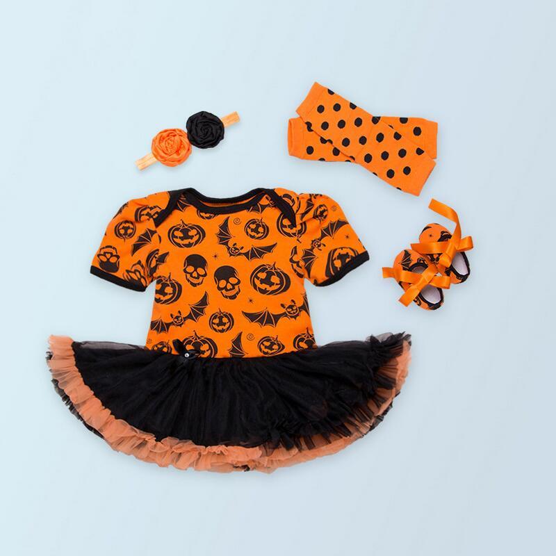 4pcs  Skull Pumpkin Orange Baby Halloween Costumes Leg Warmers Baby Girl Romper Dress Lace Tutu set Jumpsuit Newborn Clothing<br><br>Aliexpress