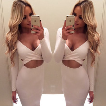 2017 New Ukraine Brazil Party Sexy Dresses V Neck Long-sleeved Bandage Hollowed Dress Autumn Summer Women's Nightclub Clothing
