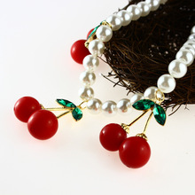 ANL0243(10), Vivi Magazine Design Imitation Pearl Chain Green Leaves Red cherry pendent necklace Female Accessories