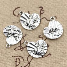 20pcs Charms frog on lily pad 18*17mm Antique charms pendant fit,Vintage Tibetan Silver,DIY for bracelet necklace