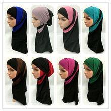 New Style fashion 2 Piece Patchwork Amira Hijab Muslim Hijab Islamic Scarf Arab Caps Hats Headwear(China)
