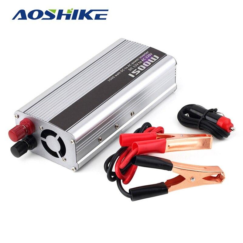 Aoshike New 1500W Power Inverter 1500W Voltage Regulator Charger Household DC 12V to AC 220V 1500 Watt Converter<br>