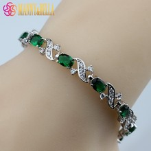 925 Sterling Silver Top Quality Green Created Emerald Bracelet Health Fashion  Jewelry For Women Free Jewelry Box SL140