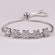 High Quality Cubic Zirconia Flower Design CZ Zircon Adjustable Bracelets For Lady in White Gold / Rose Gold Color Plated