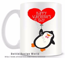 DIY Personalized Penguin love mug Funny Novelty Travel Mugs 11oz Ceramic Coffee Tea Cup Valentines Day Birthday Easter Gifts
