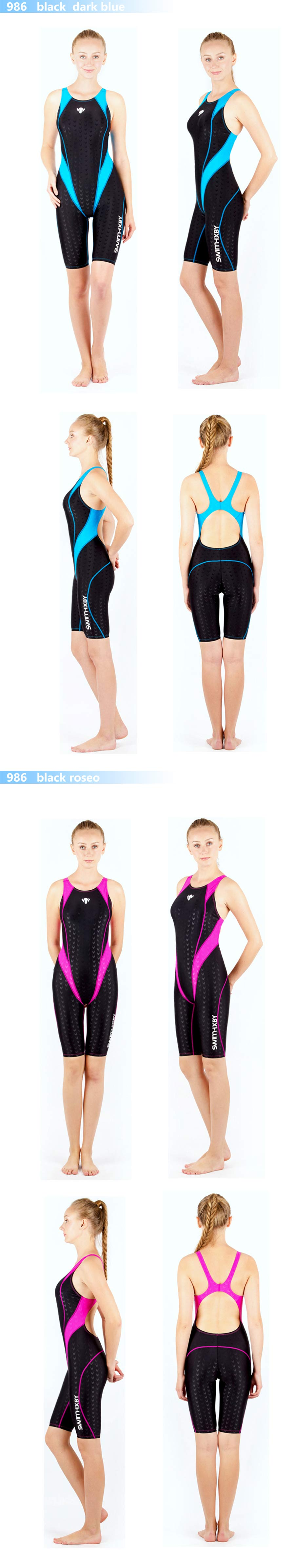 HXBY swimwear swimming suit women swimsuit Competition racing swimsuits knee swim suits plus size one piece training swimwear 4