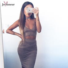 High quality sexy tight Slim Sling tops and pocket hip bandage dresses woman  Suede back split bodycon two pieces dress
