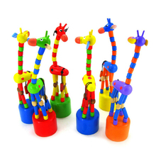 New Arrival Baby Kids Funny Wooden Toys Developmental Dancing Standing Giraffe Animal Toys Multi Color