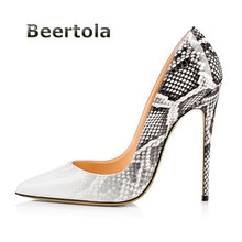 9491732404cd Beertola Snakeskin PU Leather Women Shoes Pointed Toe High-Heels Plus Size  Shoes Fashion Thin High Heels Women Pumps Sexy Party