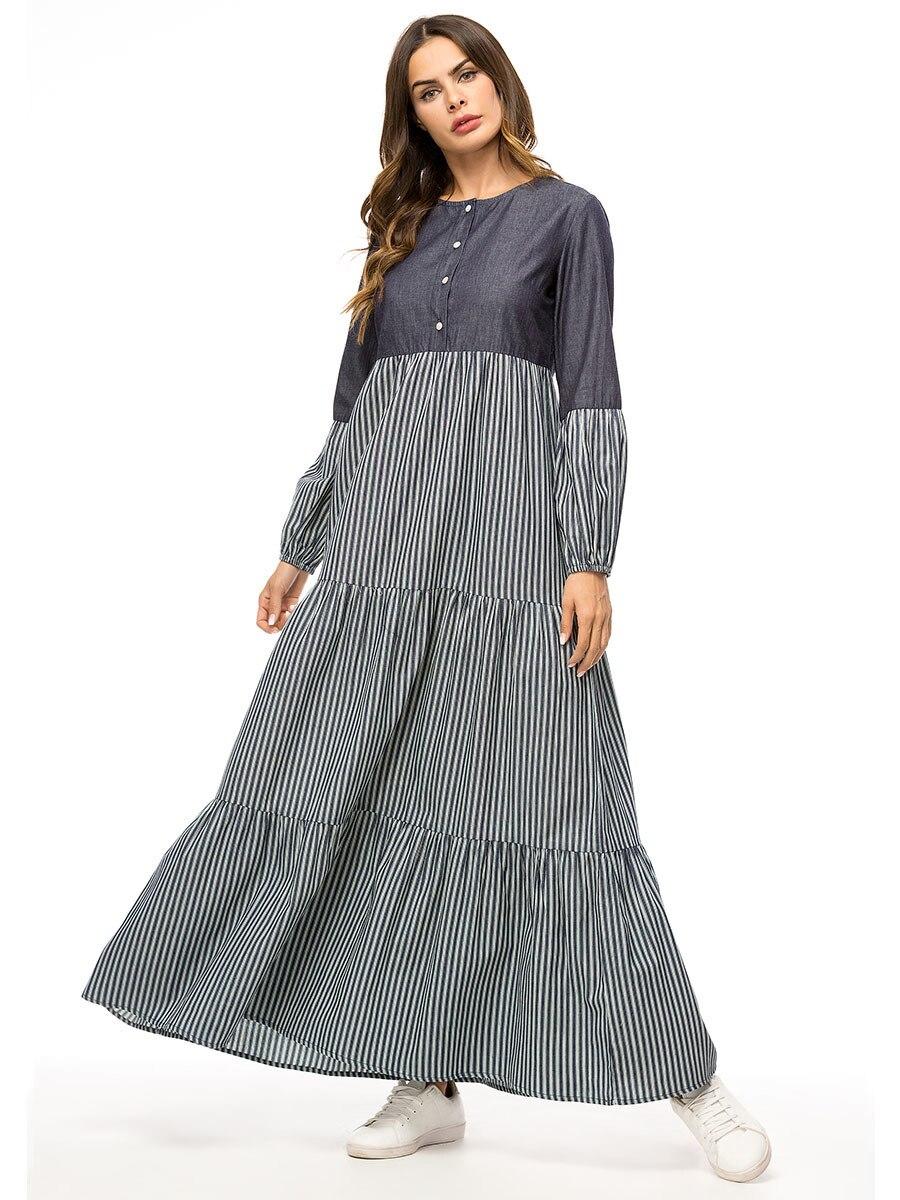 Dropship Fashion Denim Stripe Color Block Women Dress Ankle-Length Casual Muslim Dresses Elegant Ladies Maxi Long Dress Autumn